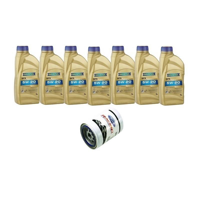 Pack 7 litres 5W20 Ravenol + 1 filtre Ford Performance FL820s