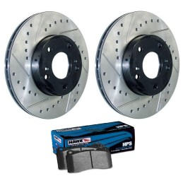 Pack de disques arrières rainurés percés + plaquettes Hawk HPS V6,GT (05-14)