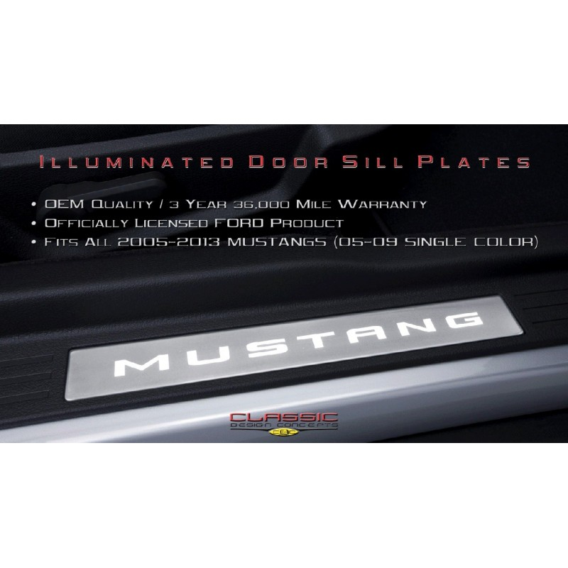 Seuils portière lumineux Mustang 2005-14