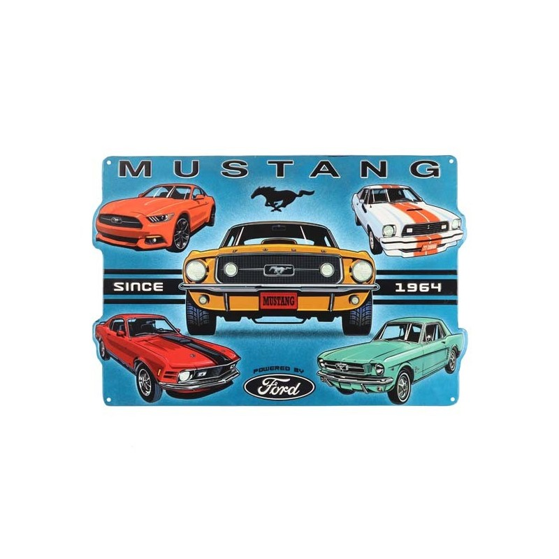 Plaque Mustang Collage metal relief