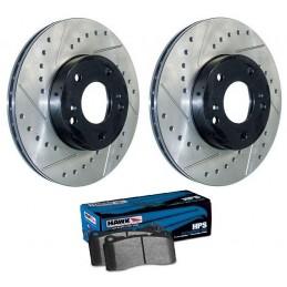 Pack disques avant percés rainurés + plaquettes Hawk HPS GT500,BOSS et étriers BREMBO