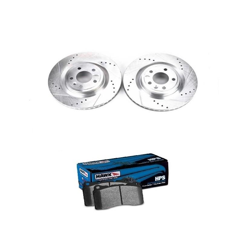 Pack disques de frein avant rainurés percés + plaquettes Hawk HPS Mustang GT 2011-14