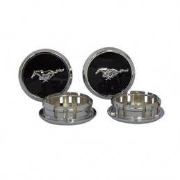 Cabochons de roues Pony noirs Mustang 2013-14