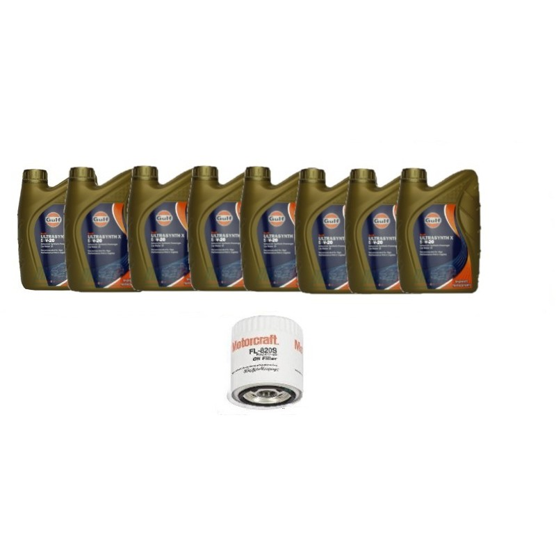 Pack 8 litres 5W20 Gulf + 1 filtre Ford FL820s