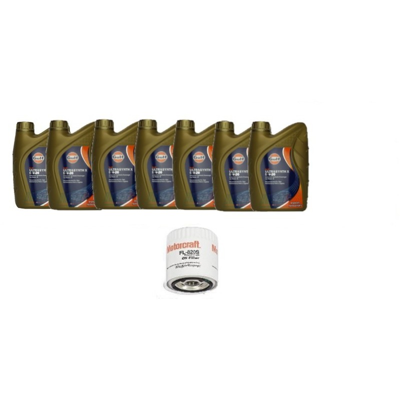 Pack 7 litres 5W20 Gulf + 1 filtre Ford FL820s