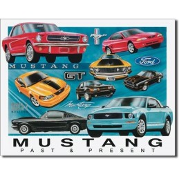 Plaque déco métallique Mustang Past and Present