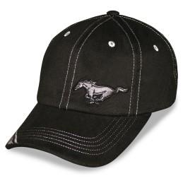 Casquette Mustang noir et gris brodée